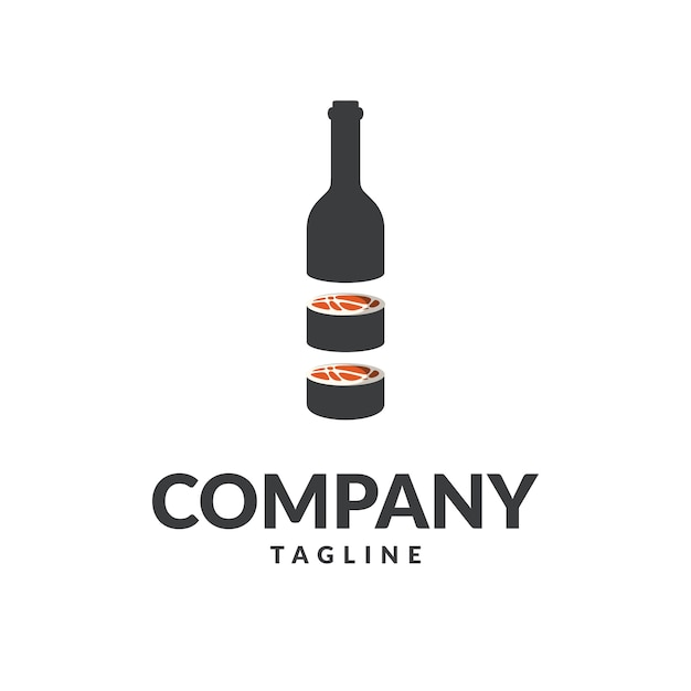 Sushi-flaschenlogo Premium Vektoren