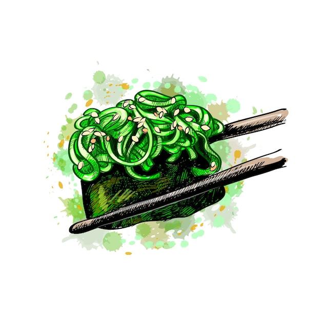 Sushi gunkan von einem spritzer aquarell, handgezeichnete skizze. illustration von farben Premium Vektoren