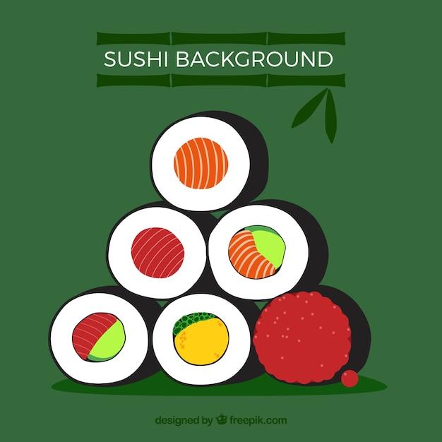 Sushi-hintergrund mit flachem design Kostenlosen Vektoren