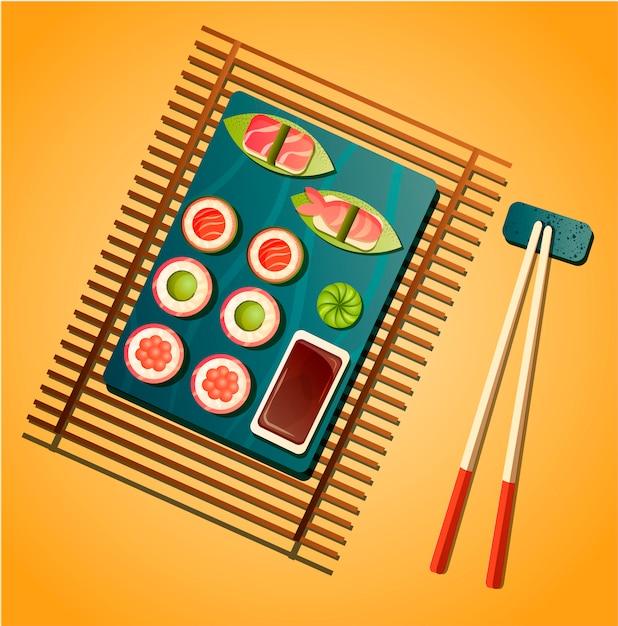 Sushi-illustration. konzept für restaurants mit asiatischer küche. sushi-rollen und sashimi mit sojasauce, wasabi und essstäbchen. japanisches essen. flaches menü-design in trendiger farbpalette. Premium Vektoren