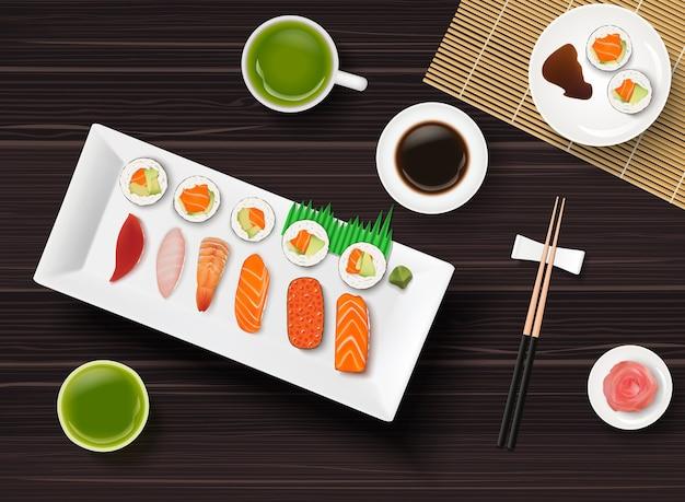 Sushi, japanisches lebensmittel auf holztischhintergrund Premium Vektoren