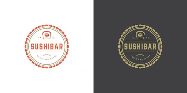 Sushi-logo und abzeichen japanisches lebensmittelrestaurant mit sushi-lachsrolle asiatischer küchenschattenbildvektor Premium Vektoren