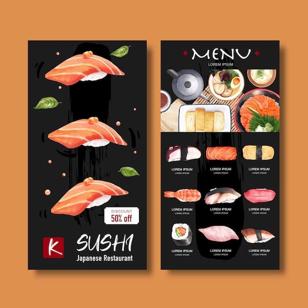 Sushi-menüsammlung für restaurant. vorlage mit essen aquarell illustrationen. Kostenlosen Vektoren