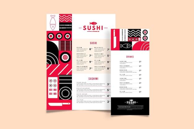 Sushi menüvorlage Kostenlosen Vektoren