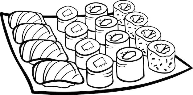 Sushi Mittagessen Cartoon Färbung Seite | Download der Premium Vektor