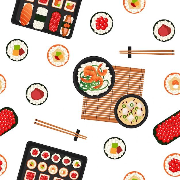 Sushi-nahtloses muster. japanisches essen. meeresfrüchte. Premium Vektoren