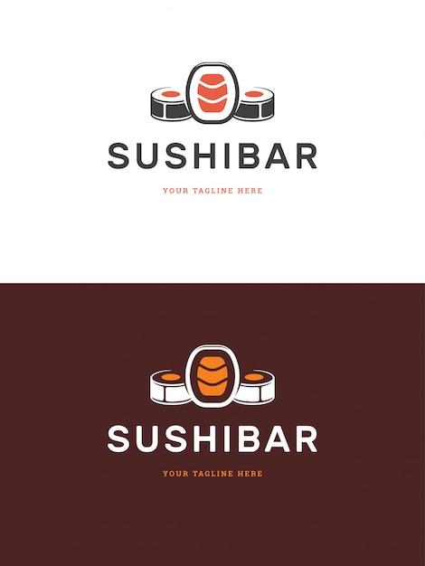 Sushi-restaurant-emblemlogo-schablonen-vektorillustration. Premium Vektoren