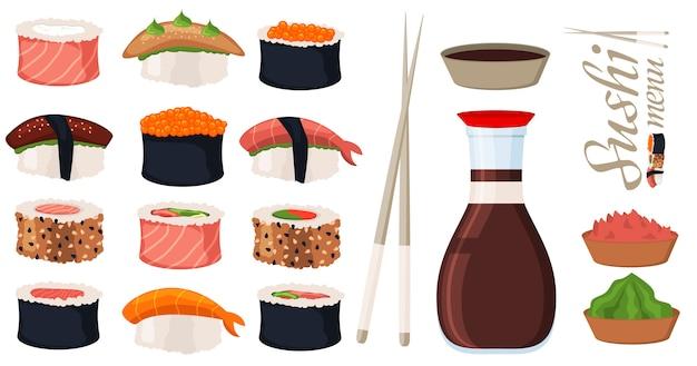 Sushi-rollenset vektor Premium Vektoren