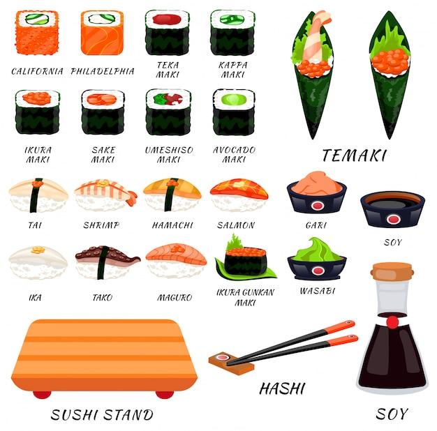 Sushi rollt japanisches essen. asiatisches sushi. sushi-bar, restaurant, zubehör. moderne flache karikaturvektorillustration auf weiß. kalifornien, philadelphia, maki, nigiri, temaki, uramaki. sushi und brötchen. stick, soja Premium Vektoren