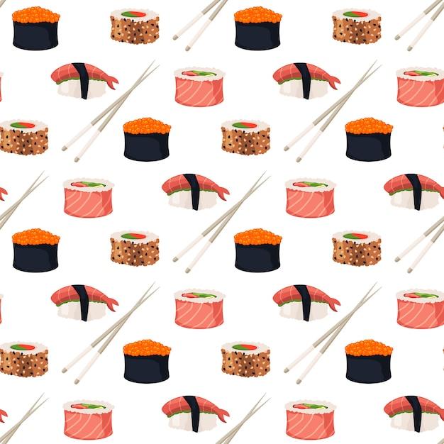 Sushi rollt nahtloses muster des sashimimeeresfrüchte-fischreises Premium Vektoren
