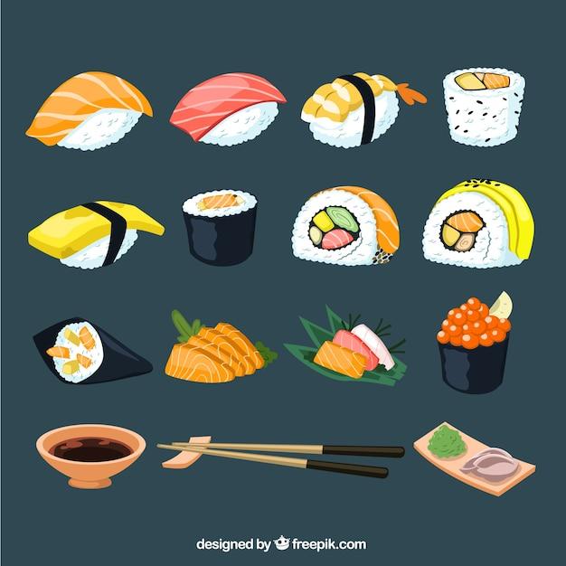 Sushi sammlung Kostenlosen Vektoren