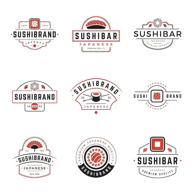 Sushi shop japanisches essen logos designset Premium Vektoren