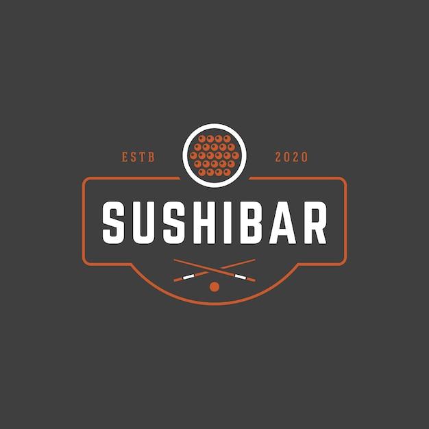 Sushi shop logo vorlage lachs roll silhouette mit retro-typografie Premium Vektoren