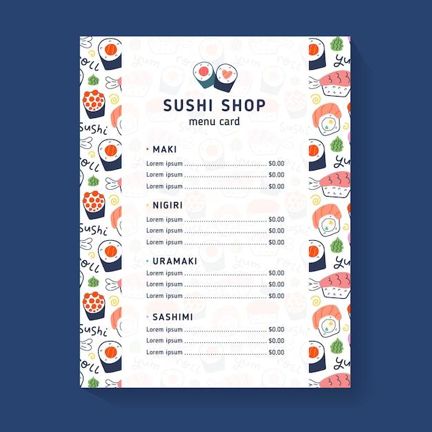 Sushi shop menüvorlage Premium Vektoren