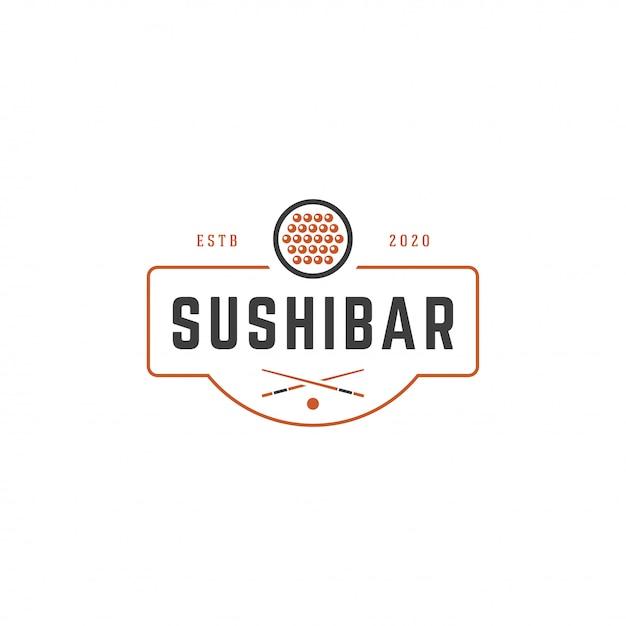 Sushi-shoplogoschablonenlachsrollenschattenbild mit retro- typografievektorillustration Premium Vektoren