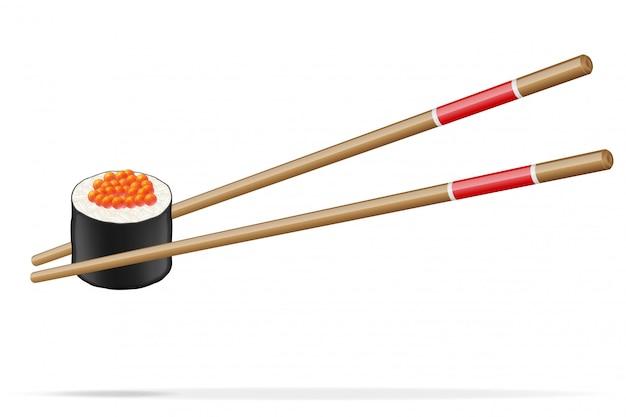Sushi und essstäbchenvektorillustration Premium Vektoren