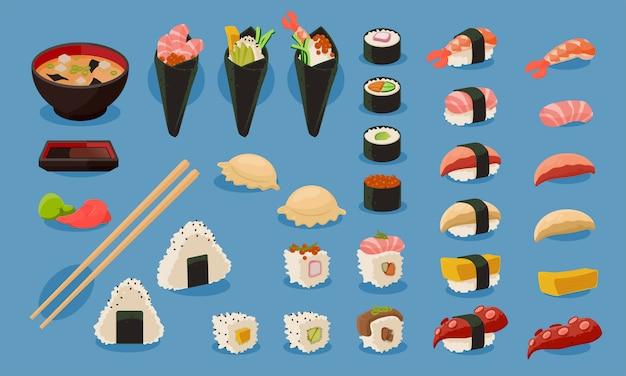 Sushi-vektor-set Premium Vektoren