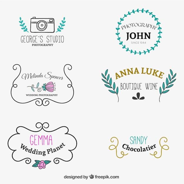 Süße gezogen Logo-Vorlagen | Download der kostenlosen Vektor
