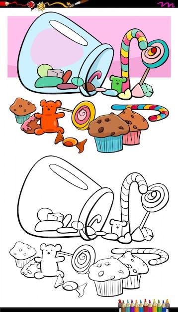 Süßigkeiten und Süßigkeiten Gruppe Malbuch | Download der Premium Vektor
