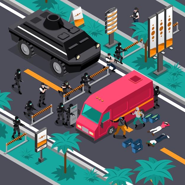 Swat in action isometrische komposition poster Kostenlosen Vektoren