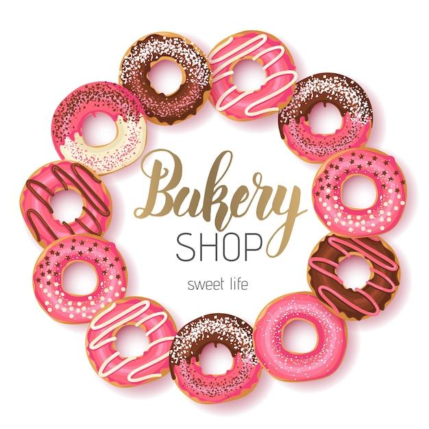 Sweet bakery shop frame mit glasiertem pink und schokoladen donuts und handgemachten schriftzügen Premium Vektoren
