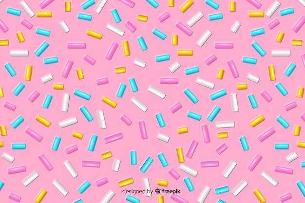 Sweet donut glasur mit streuseln Kostenlosen Vektoren