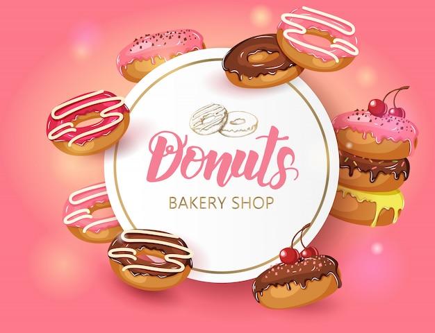 Sweet frame mit glasierten donuts und kirschpulver abgerundet. desert food design Premium Vektoren
