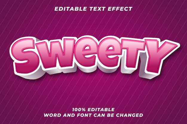 Sweety bearbeitbarer textstileffekt Premium Vektoren