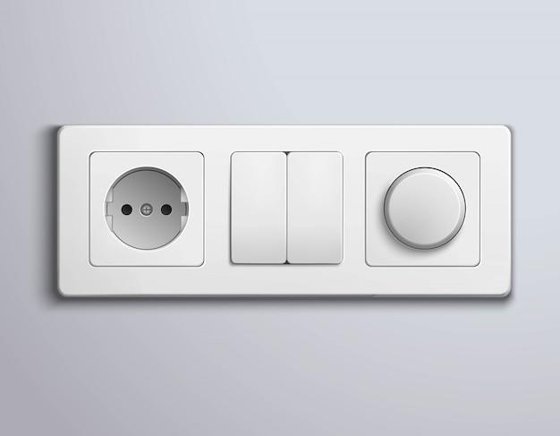 Switches sockets realistic panel Kostenlosen Vektoren