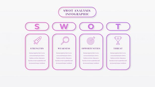 Swot-analyse business infographik vorlage Premium Vektoren