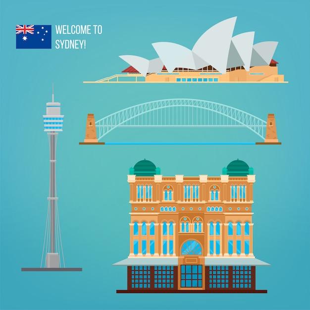 Sydney architektur. tourismus australien Premium Vektoren