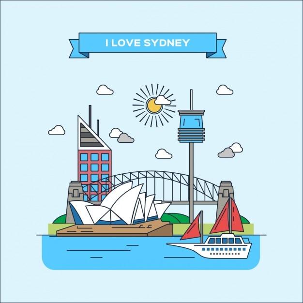 Sydney flach illustration Kostenlosen Vektoren