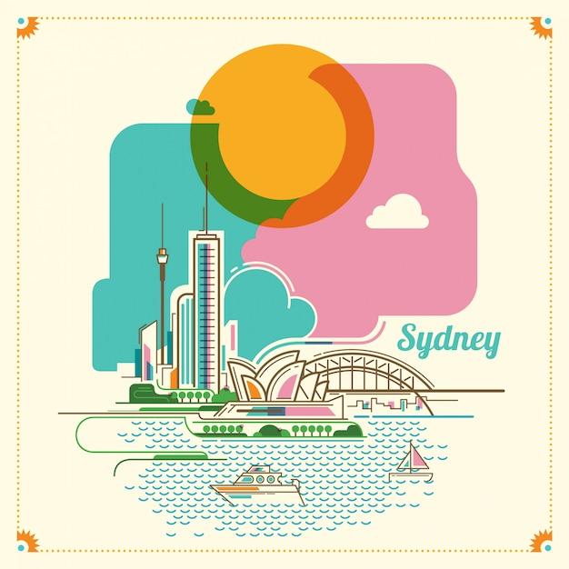 Sydney-landschaftsabbildung Premium Vektoren