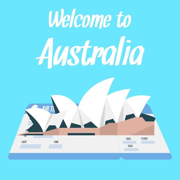 Sydney opera house-vektor-illustration mit text. Premium Vektoren