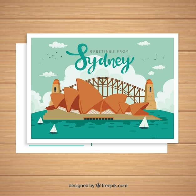 Sydney-postkartenschablone mit hand gezeichneter art Kostenlosen Vektoren