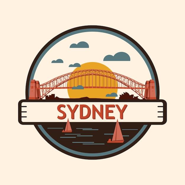Sydney stadt abzeichen, australien Premium Vektoren