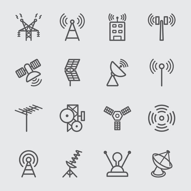 Symbol antenne und satellitensymbol Premium Vektoren