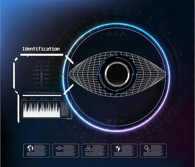 Symbol auf blau. digital eye hud ui. . medizin illustration. augensymbol. futuristischer technologiestil. identifizierungssystem scannen. Premium Vektoren