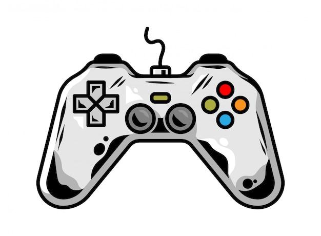 Symbol des gamepads zum spielen des arcade-videospiels für den spieler benutzerdefinierte designkartonillustration Premium Vektoren