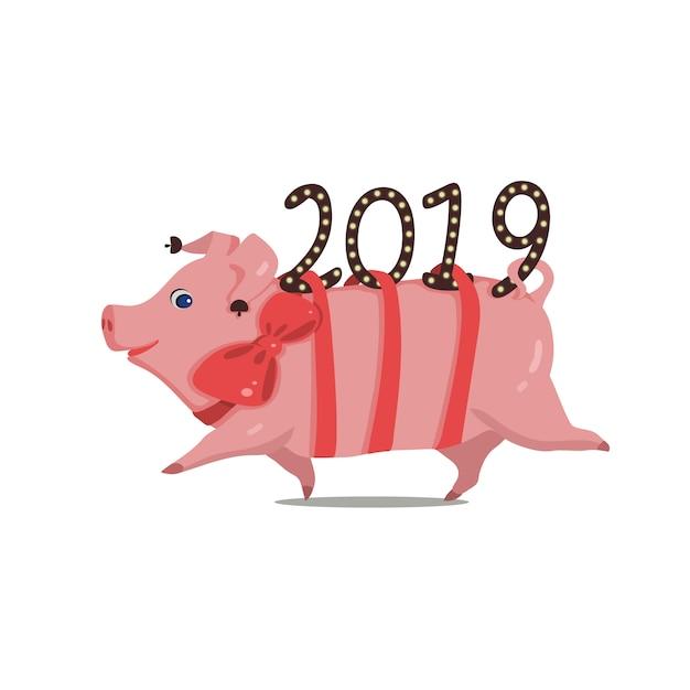 Symbol des jahres lustiges schwein, das ab 2019 läuft Premium Vektoren