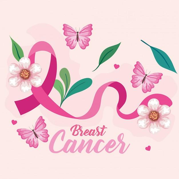 Symbol des weltbrustkrebs-bewusstseinsmonats im oktober mit rosa band, schmetterlingen, blättern und herzdekoration Premium Vektoren