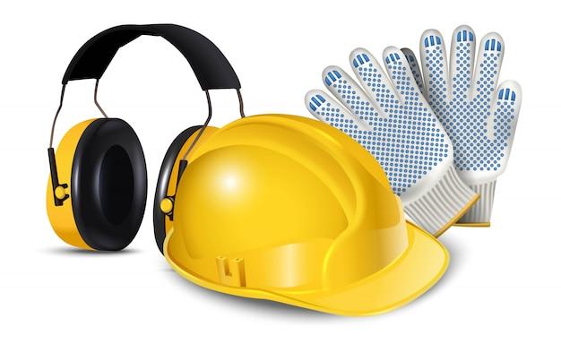 Symbol illustration der arbeitssicherheitsausrüstung, des harten helms, der kopfhörer und der handschuhe. auf weiß isoliert Premium Vektoren