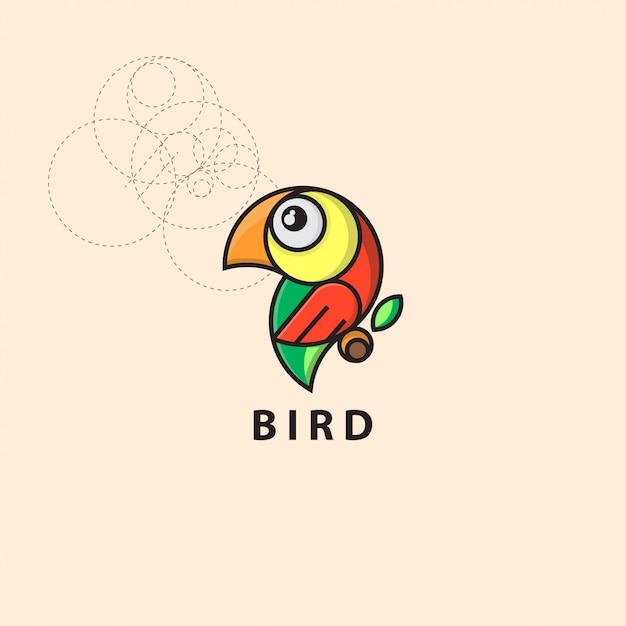 Symbol logo vogel mit raster stil Premium Vektoren
