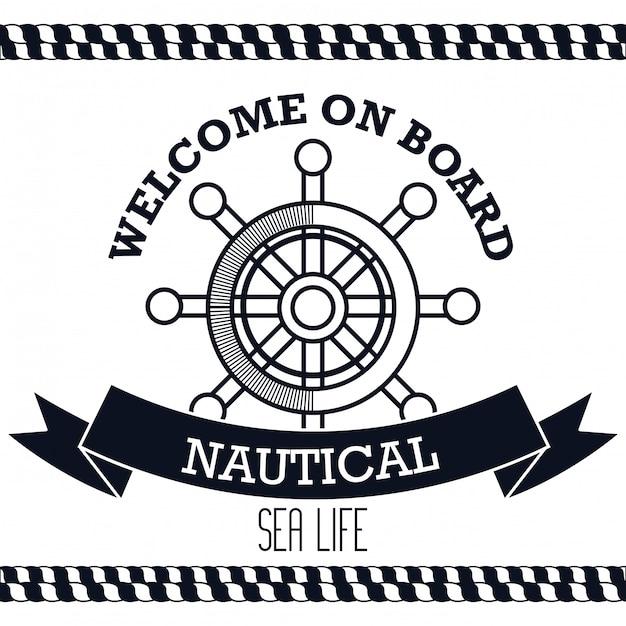 Symbol nautische timon-boot-label Premium Vektoren