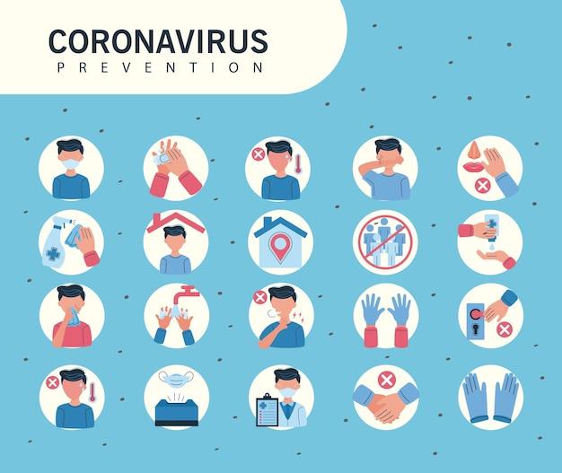 Symbole, die auf die prävention von covid19 hinweisen Premium Vektoren