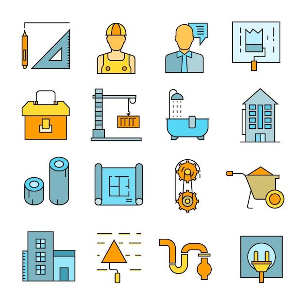 Symbole für bau und hausrenovierung Premium Vektoren