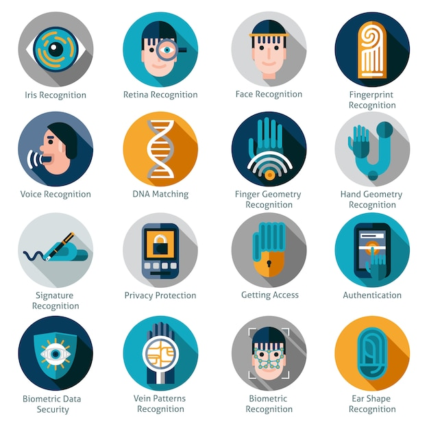 Symbole für die biometrische authentifizierung Kostenlosen Vektoren