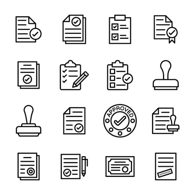 Symbole für genehmigtes dokument und dokumentüberprüfung Premium Vektoren