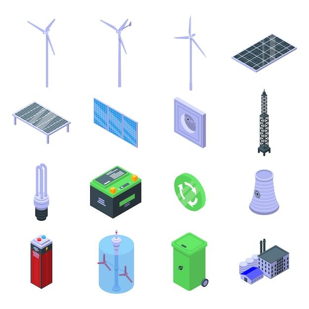 Symbole für saubere energie gesetzt Premium Vektoren