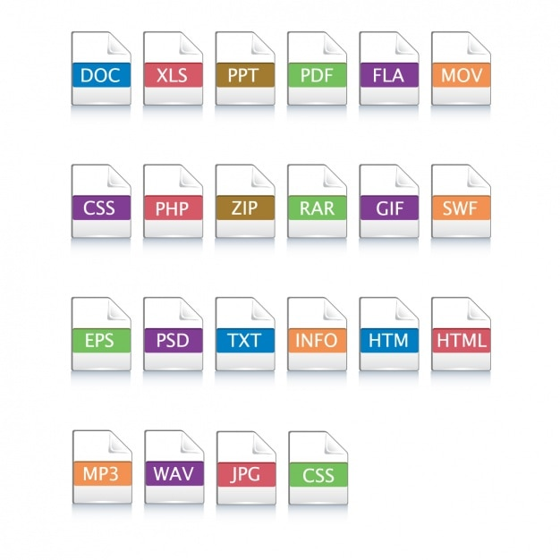 Symbole für verschiedene dateien Kostenlosen Vektoren